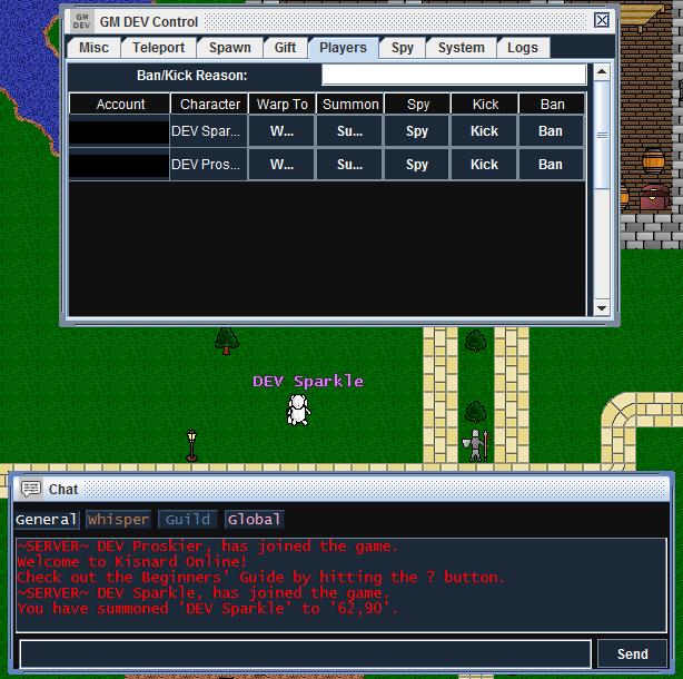 Kick, summon, ban players, DEV/GM controls