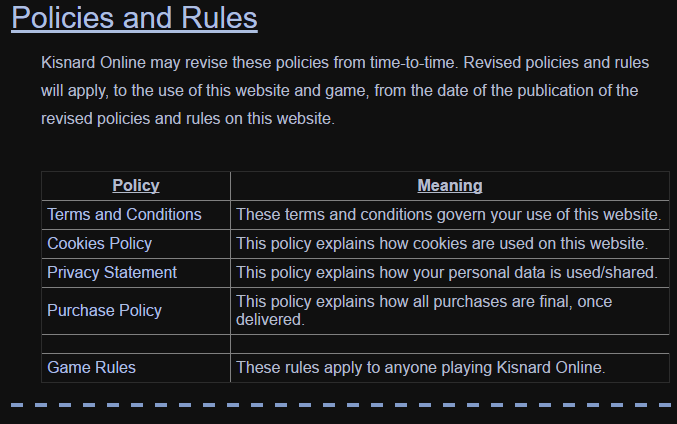 policies, rules
