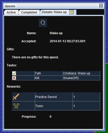 Quests details information window