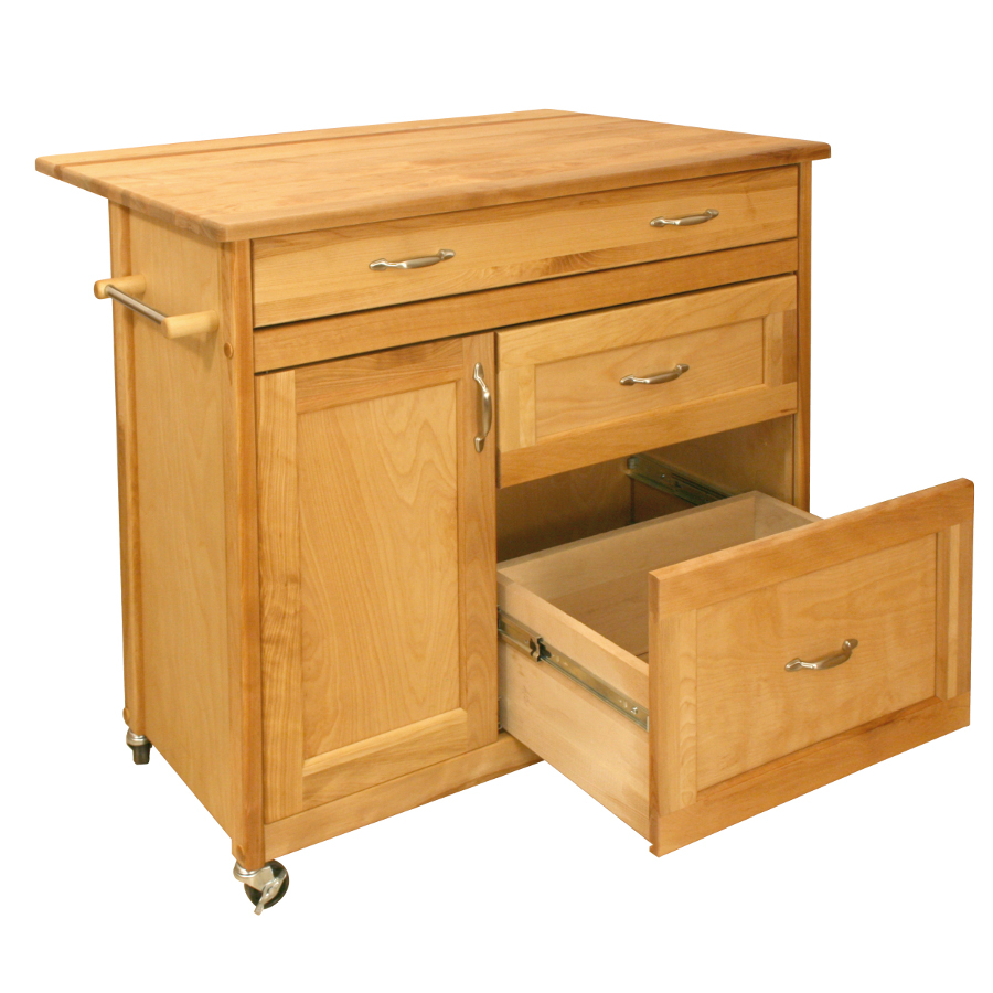 Catskill Mid-Sized Drop Leaf Island Cart - 3 Enormous Drawers