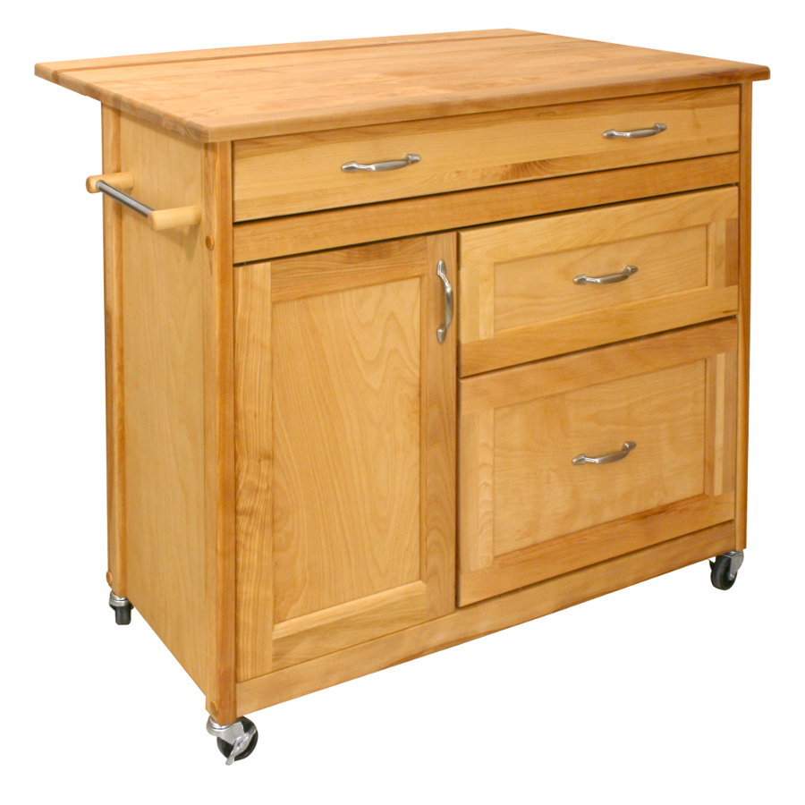 Mid-Sized Deep Drawer Kitchen Island Cart