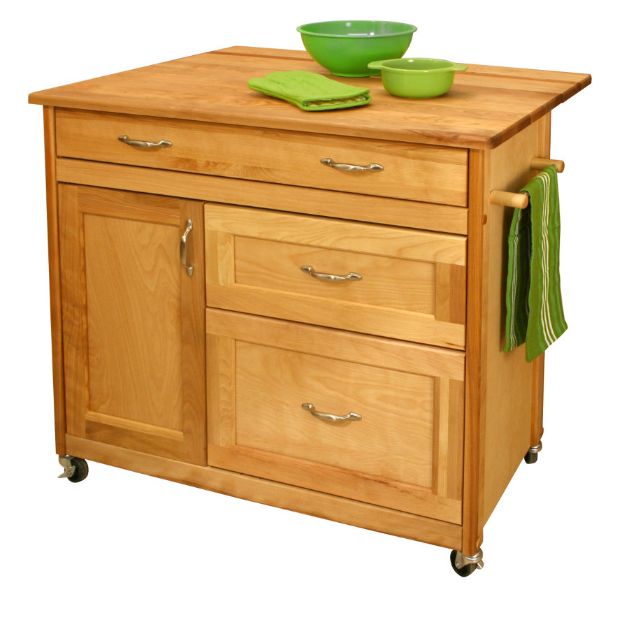 Kitchen Island Cart With Deep Drawers Drop Leaf