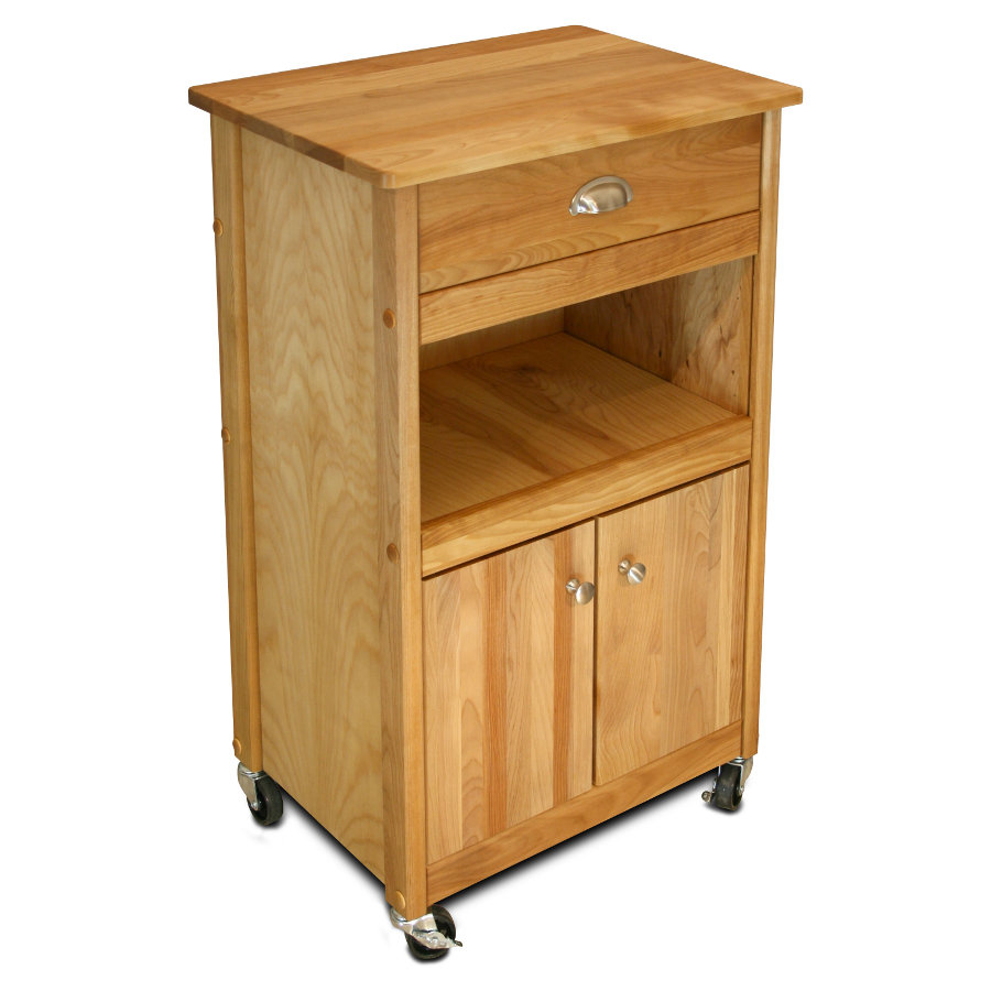 Catskill Small Butcher Block Cart - Open & Enclosed Storage