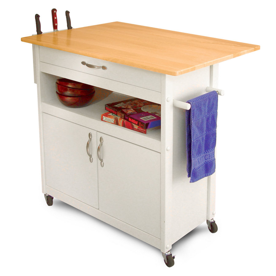 Catskill Drop-Leaf Utility Cart - White Base, Side-Mounted Knife Rack