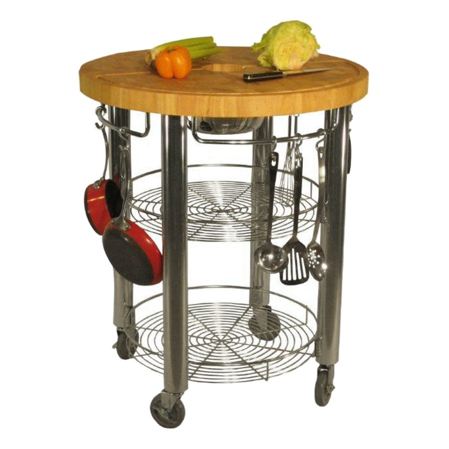 30 in round kitchen cart 2 in butcher block cart
