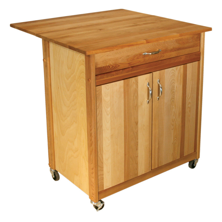 Catskill Mid-Size Butcher Block Cart - 34 x 17, Optional Dop Leaf