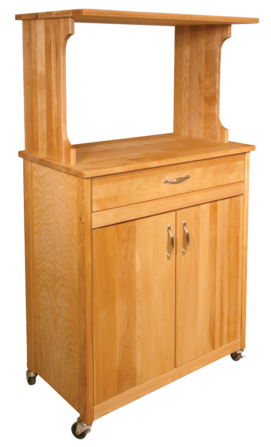 Catskill Microwave Cart with Butcher Block Counter and Hutch Top 30