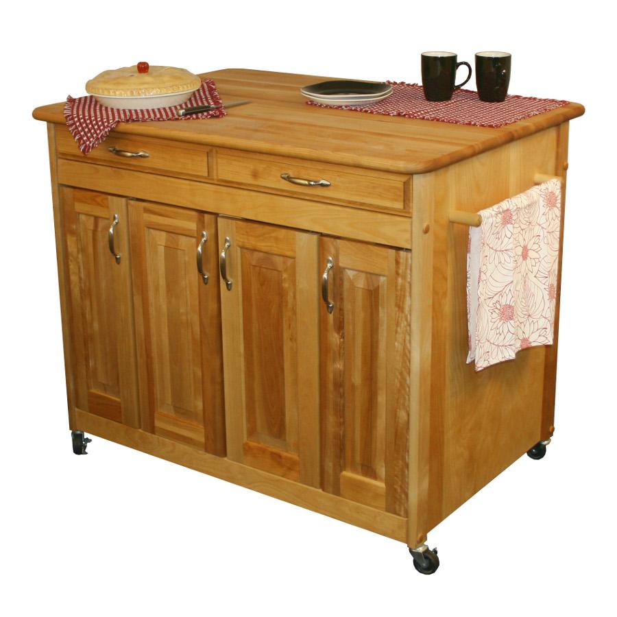 Catskill Butcher Block Island W Storage Cabinets