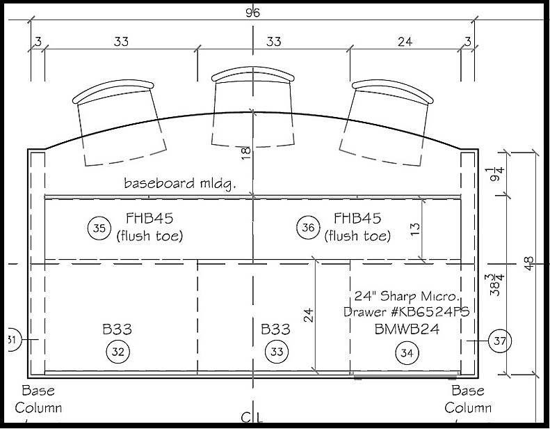 kitchen island layout drawing