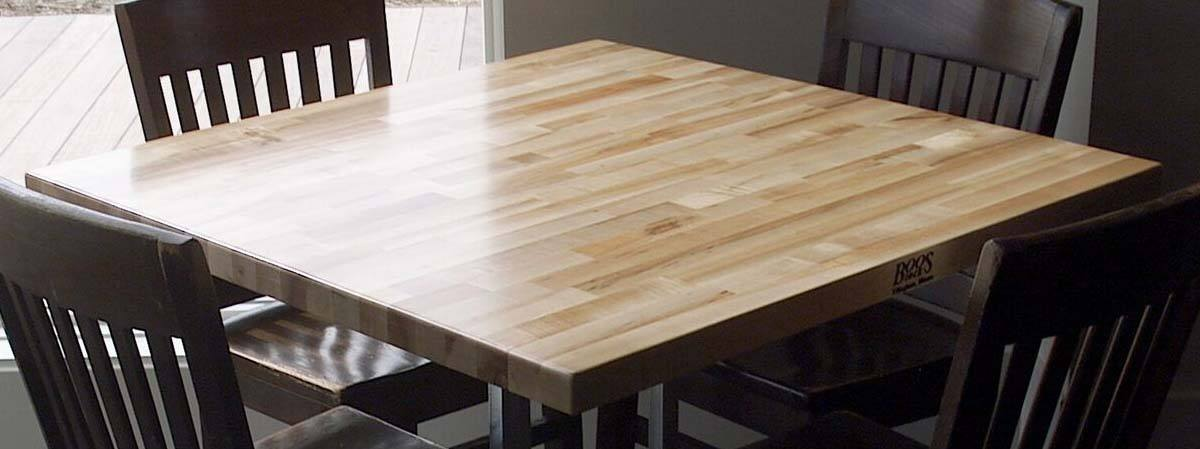 Boos dining table, blended-grain style