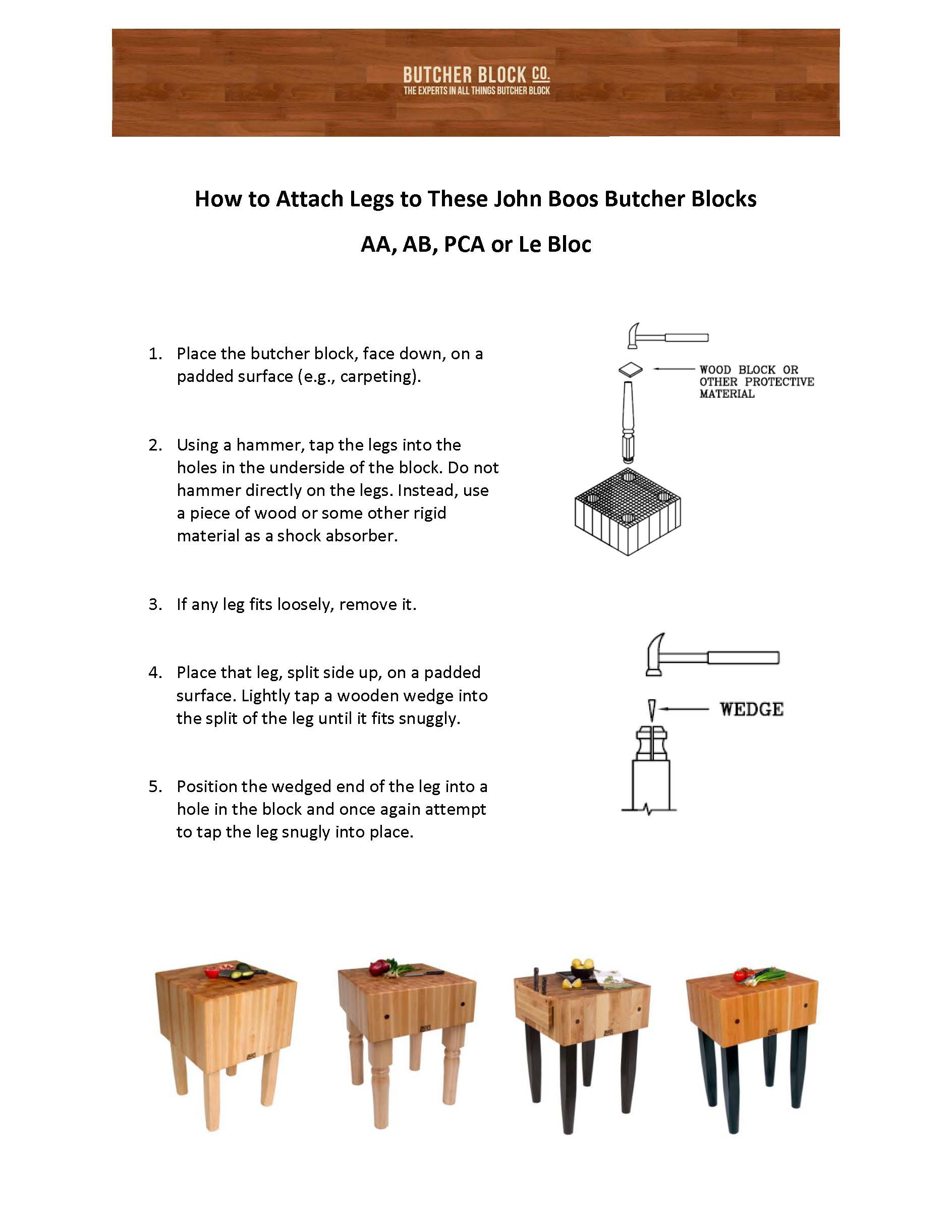 Boos Block & Butcher Block Table Assembly Instructions