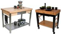 work station island with butcher block top