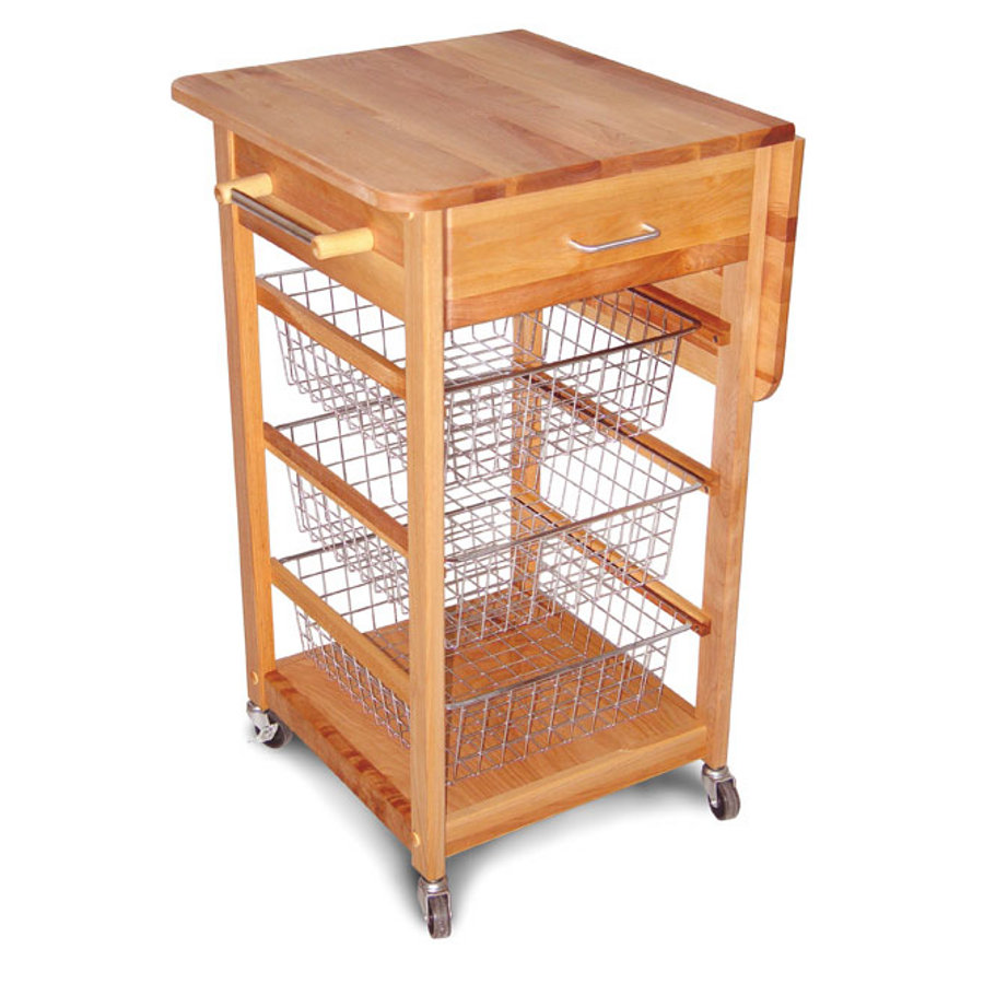 Drop Leaf Kitchen Cart With Chrome Baskets
