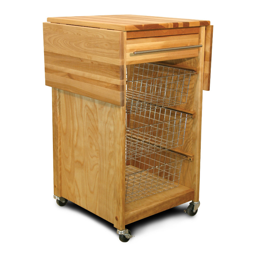 Catskill's Contemporary Basket Cart - with Dual Drop Leaves