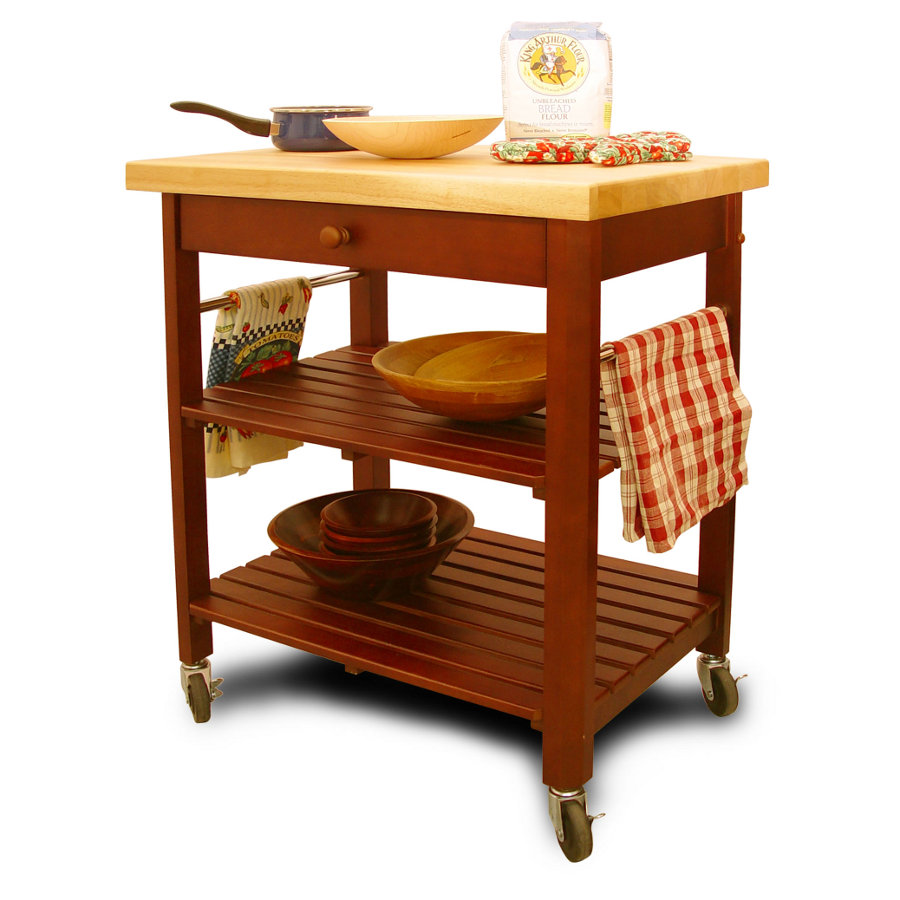 Catskill Roll-About Cart - Lacquered Top, Cherry-Stained Shelves
