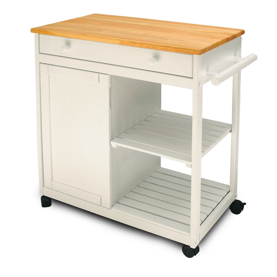 Catskill Preston Hollow White Kitchen Cart - Cabinet & Shelves, 32