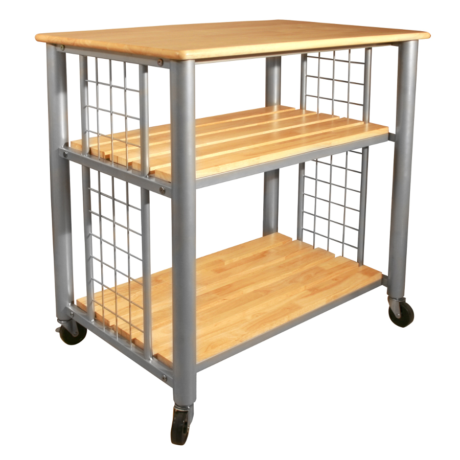 Catskill Contemporary Cart - Lacquered Wood Top, Steel Frame