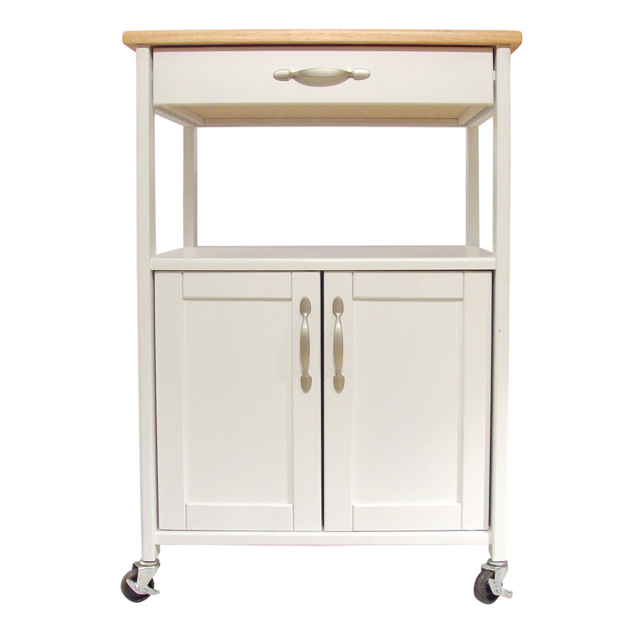 White Kitchen Trolley With Lacquered Hardwood Top