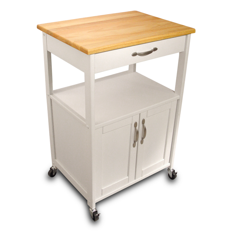 Catskill White Kitchen Trolley - with Lacquered Top & Open Shelf