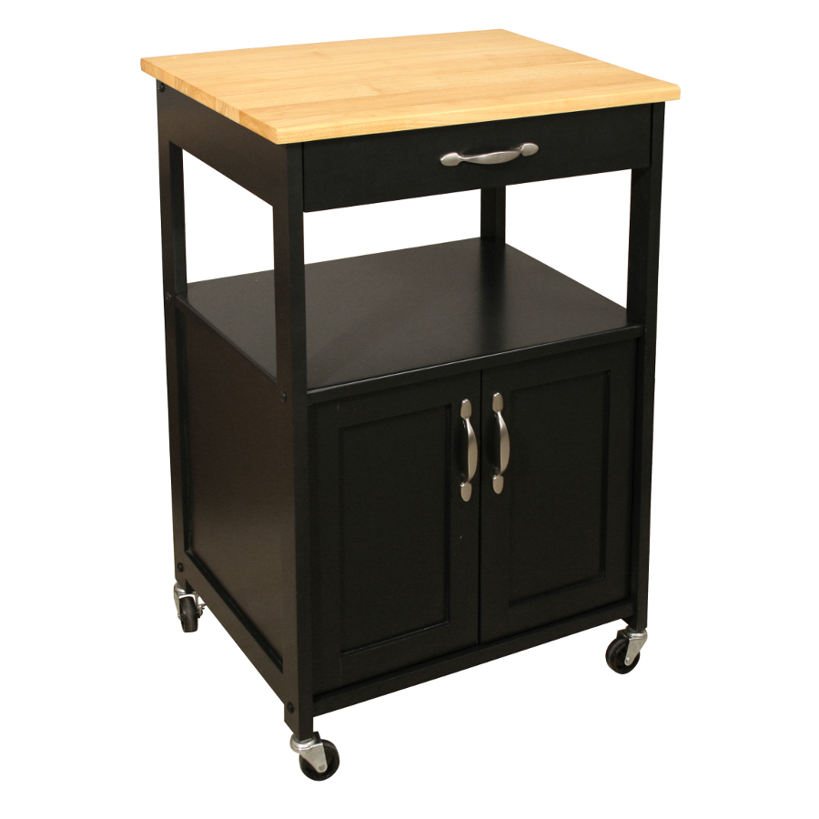 Catskill Black Kitchen Trolley – Lacquered Hardwood Top
