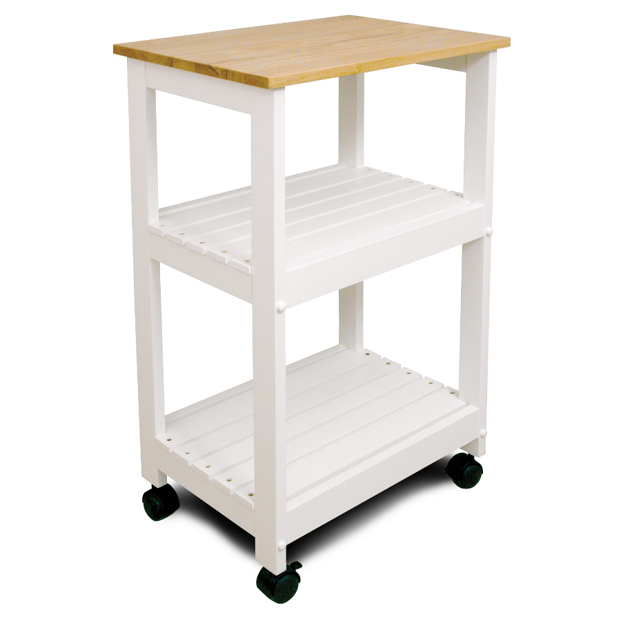 Catskill White Kitchen Trolley - Utility Cart with Two Slatted Shelves