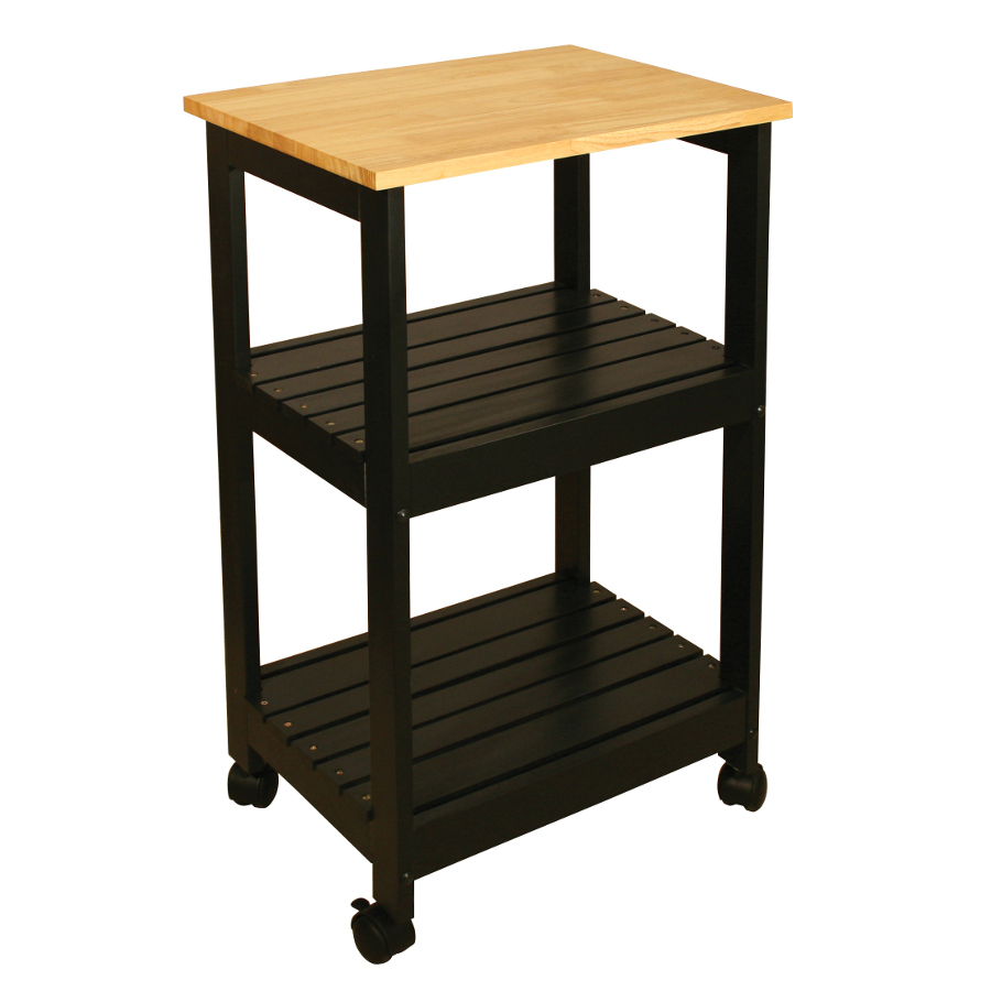 Catskill Kitchen Trolley - Black Base, Lacquered Top, Slatted Shelves