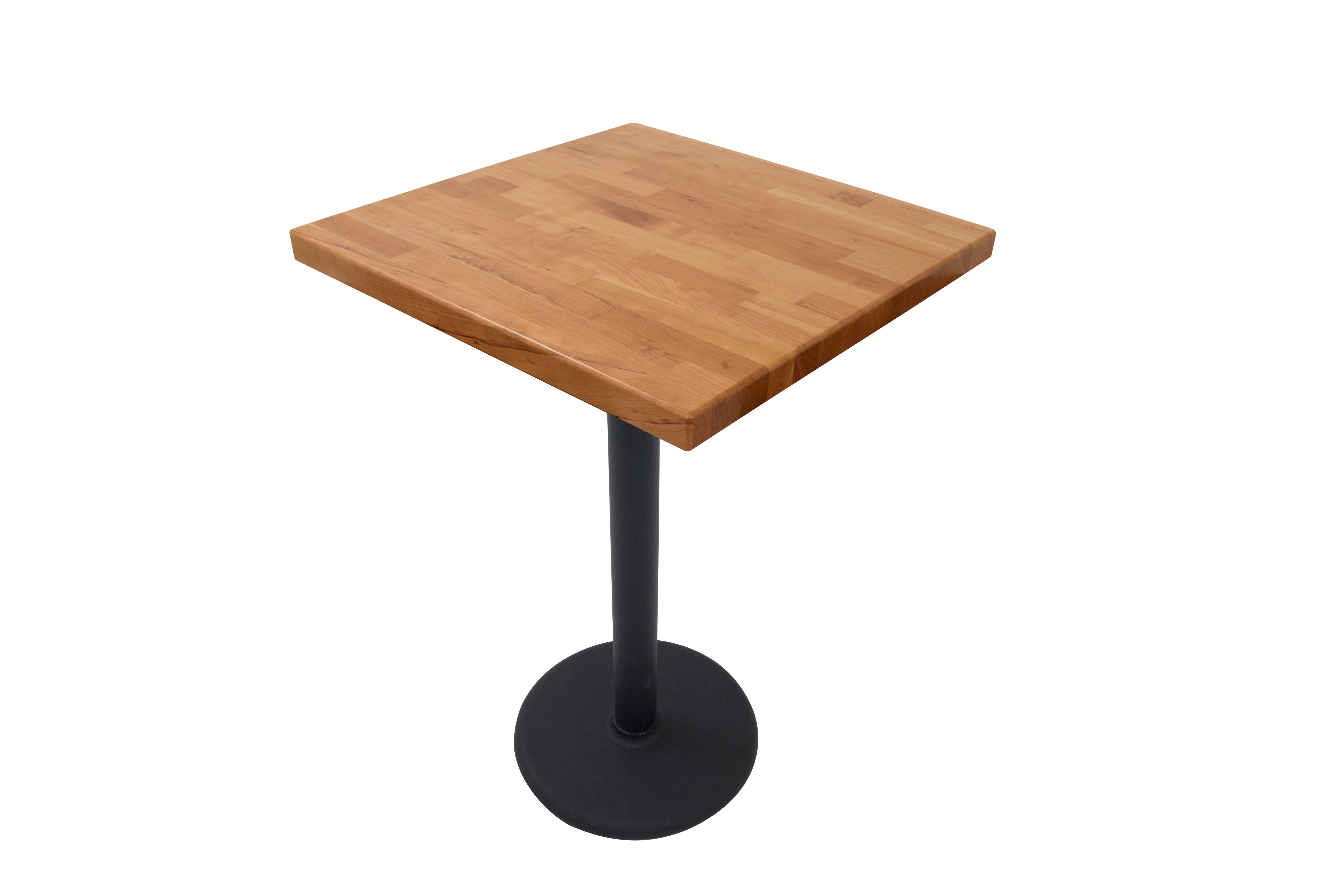 John Boos Cherry Blended Grain Butcher Block Table Top on Metal Disc Base