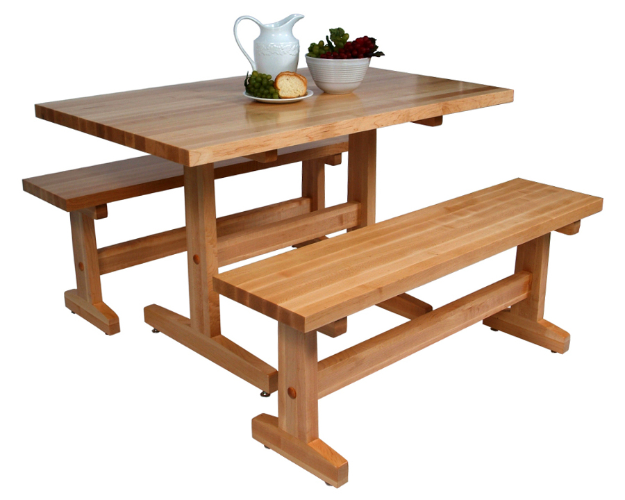 Boos Maple Trestle Table & Benches for Casual Dining or Work