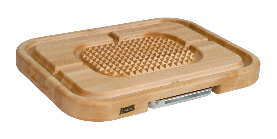 Boos Maple Aztec Carving Board - Medium Pyramids, Groove, Pan