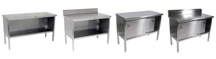NSF Stainless Steel Table Enclosed Base Cabinets - Enclosed stainless steel work table