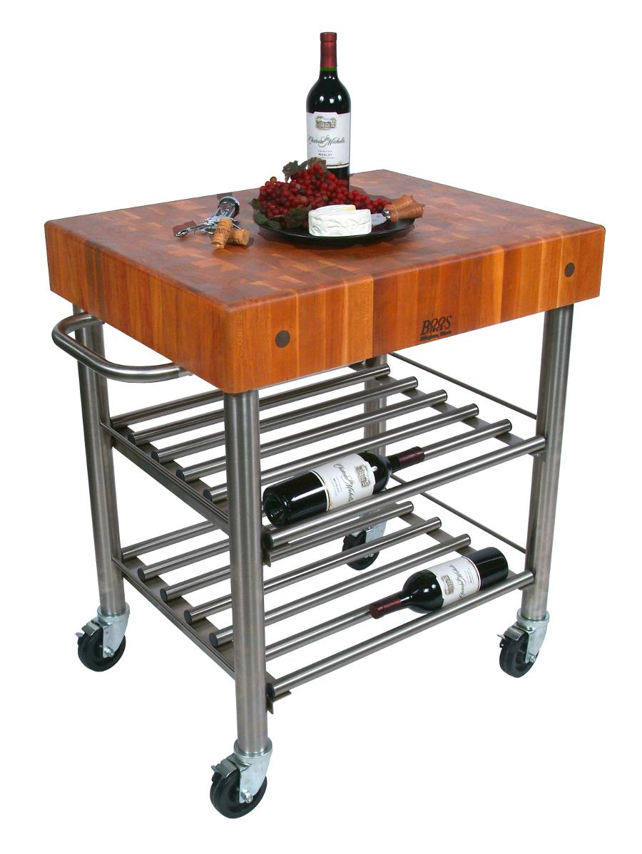 John Boos Butcher Block Wine Cart Cucina D Amico