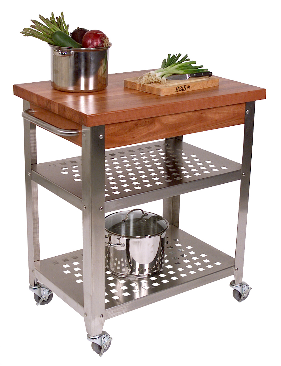 John Boos Cherry Cucina Rosato Butcher Block & Steel Cart