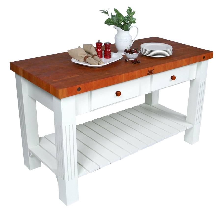 John Boos Cherry Grazzi Butcher Block Table - Alabaster-White Base