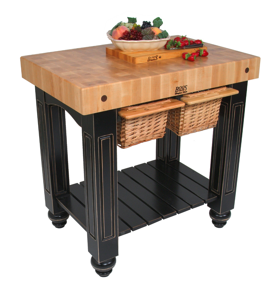 Boos Gathering Block II – 36x24 Butcher Block Table, 2 Wicker Basket Drawers