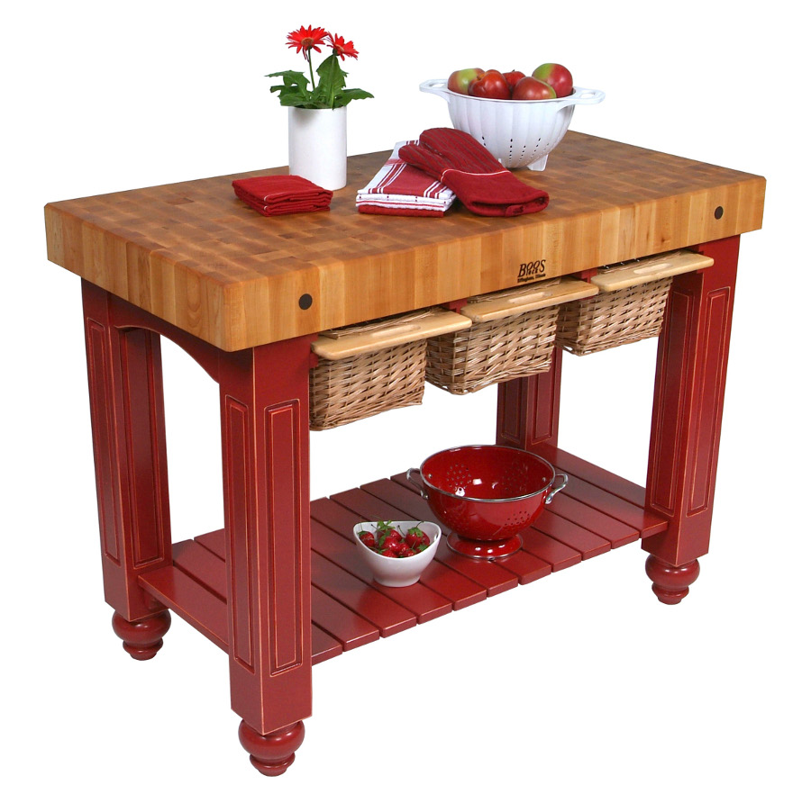 Butcher Block Red Kitchen Island : John Boos Gathering Block Butcher Block Island
