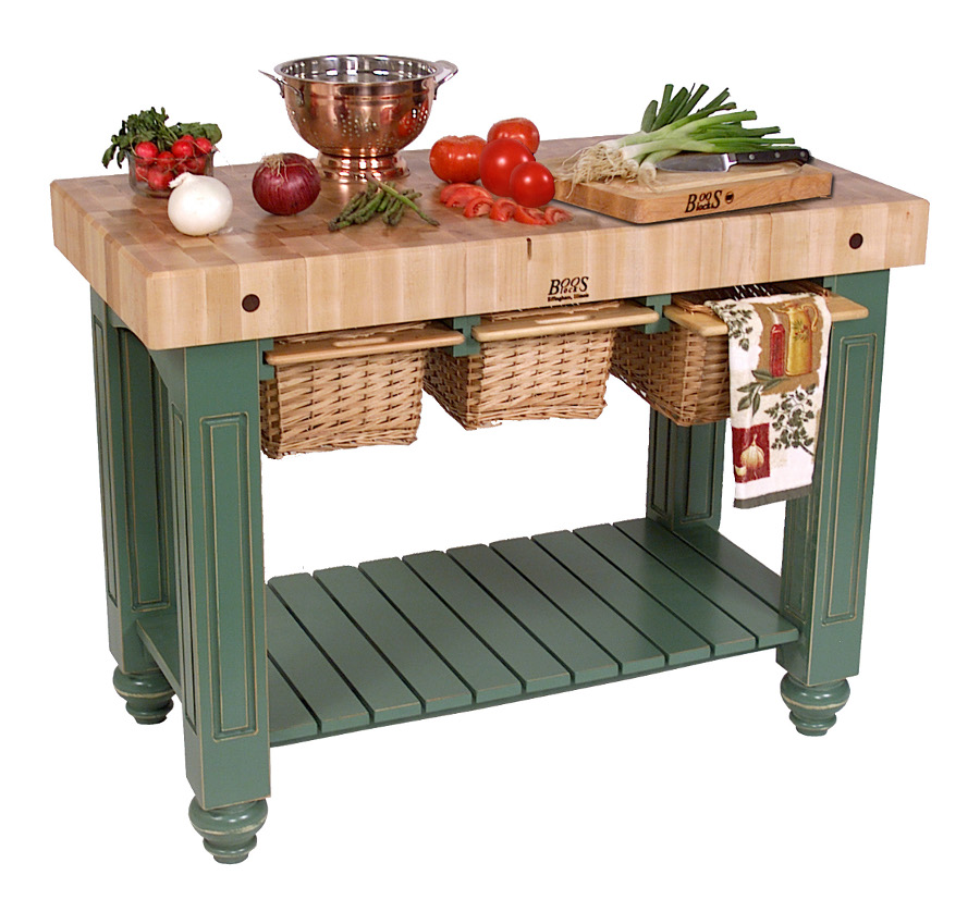 Boos Gathering Block III - 48x24 Butcher Block Table, Wicker Baskets