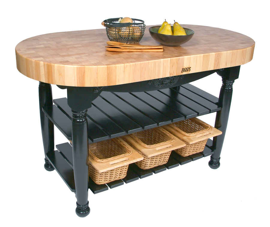 Boos Harvest Table with Oval Butcher Block Top, Shelves, Baskets