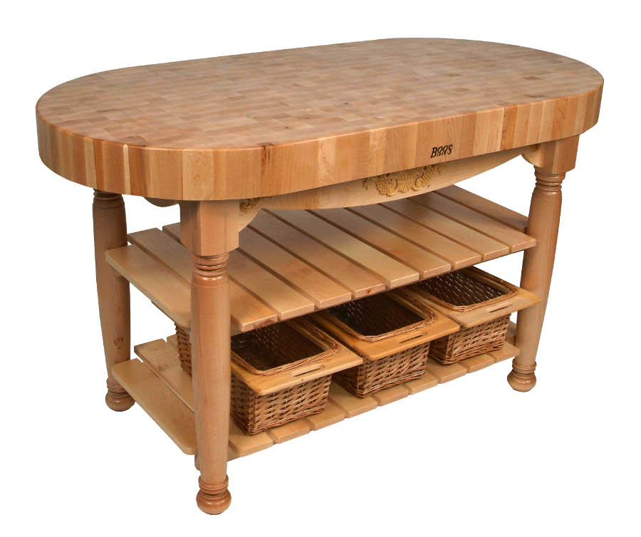 kitchen island butcher block table john boos harvest table oval butcher block island 4978