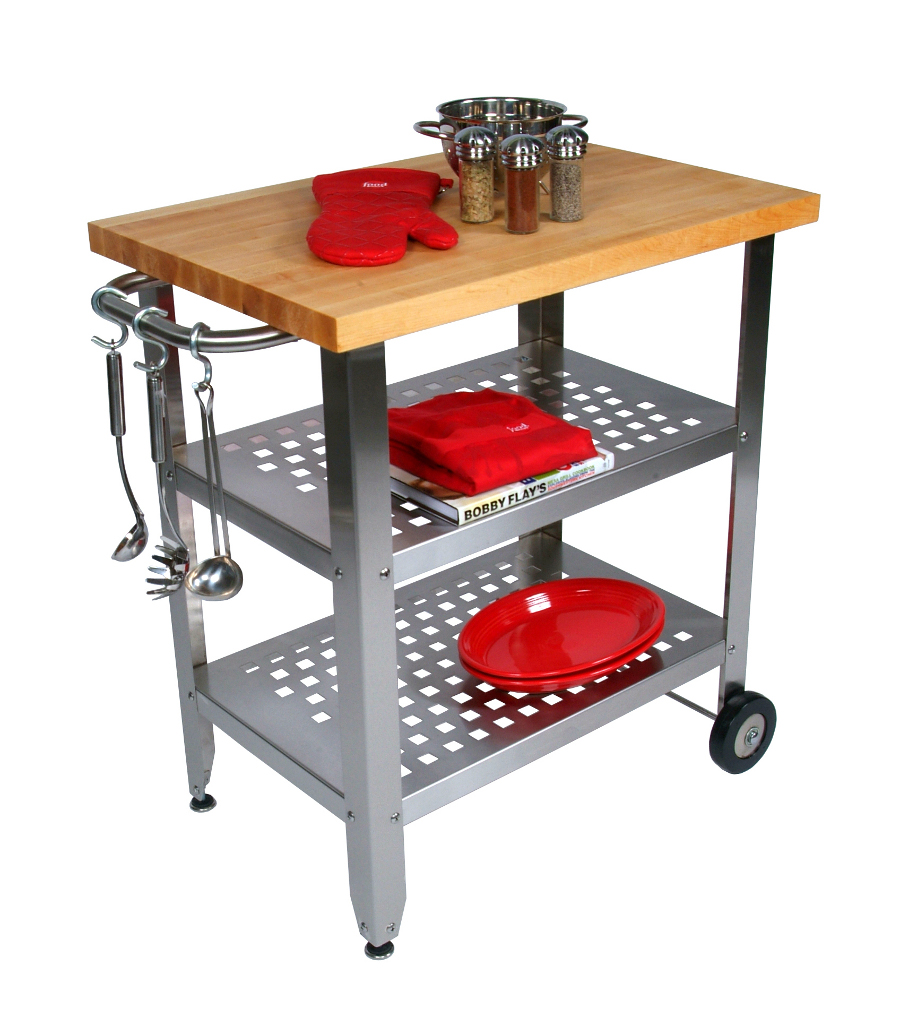 John Boos Maple-Top Cucina Avanti Stainless Steel Kitchen Cart