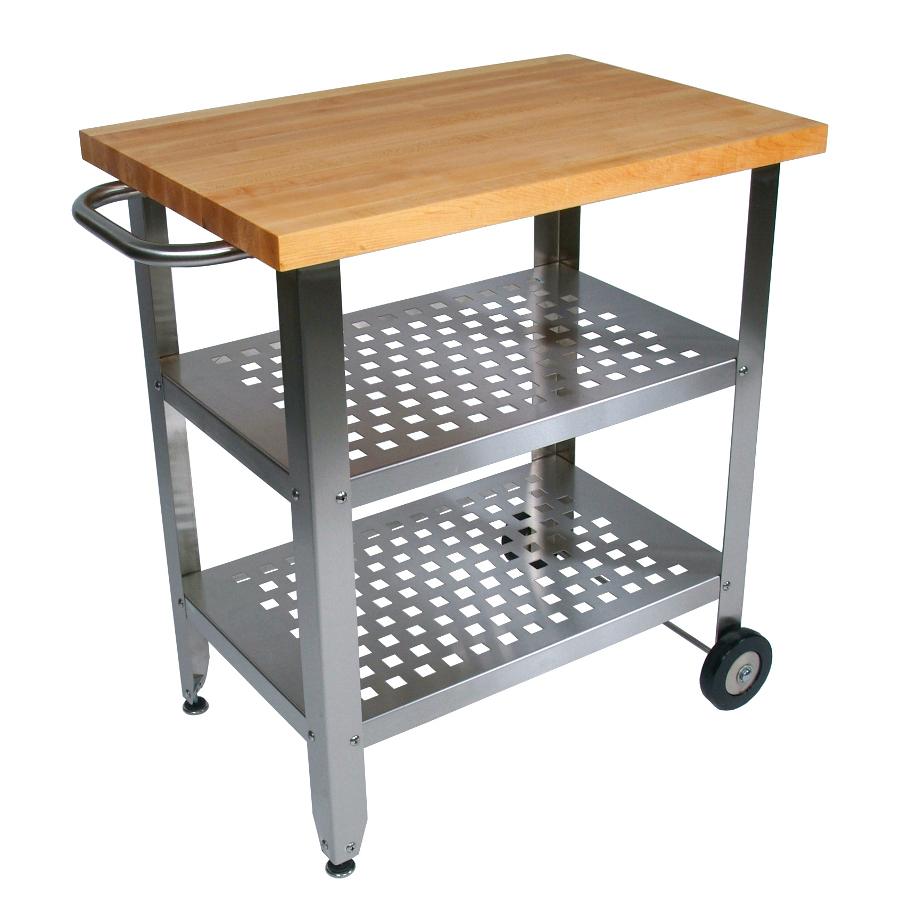 John Boos Maple And Stainless Cucina Elegante Kitchen Cart: Maple-Steel Kitchen Cart