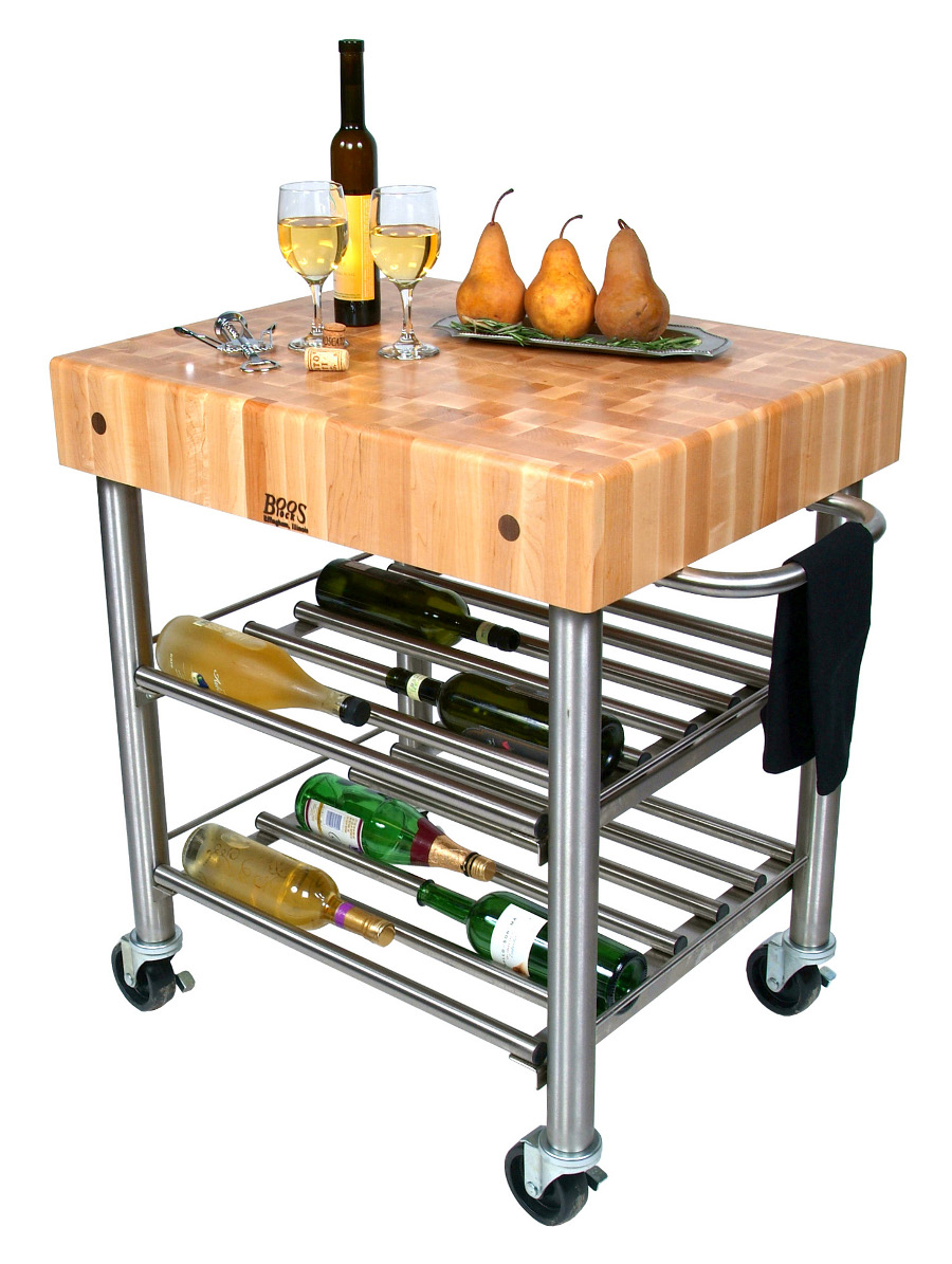 John Boos Maple Cucina D'Amico Wine Cart - 5