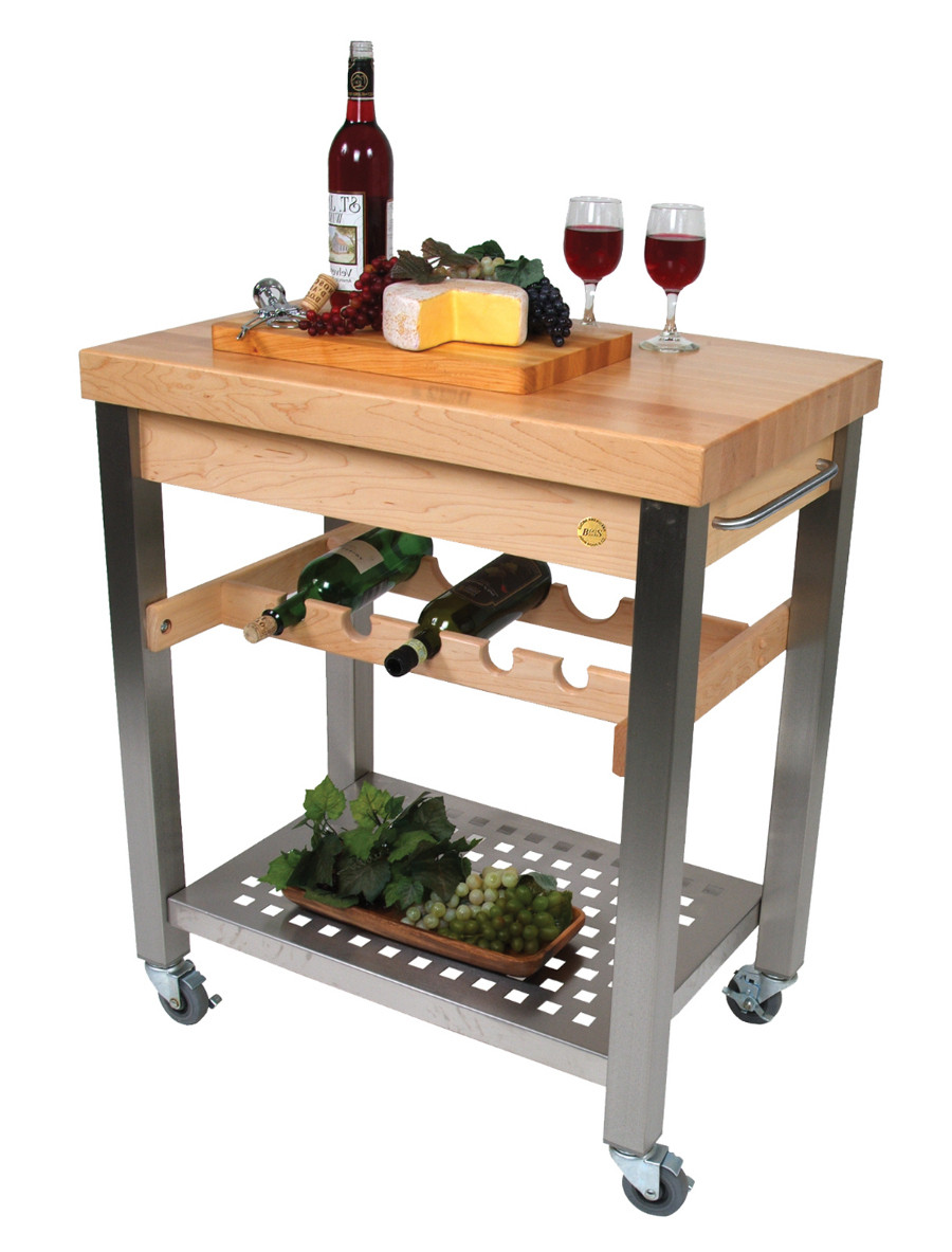 John Boos Cucina D'Vino Wine Cart - Hard Maple-Top & Steel Base