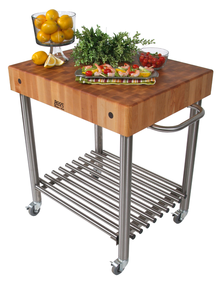 "John Boos Cucina D'Amico Cart – 5"" Maple Block on a Steel Base, 30"