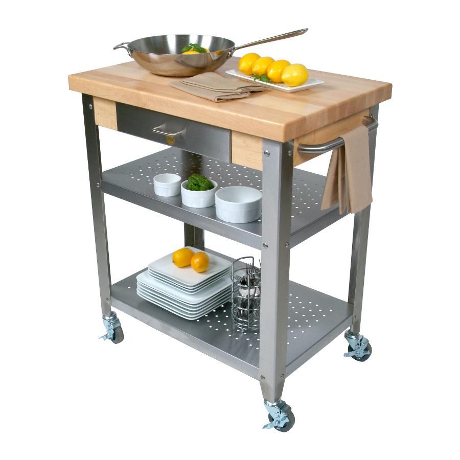 John Boos Cucina Elegante Wood Steel Kitchen Cart