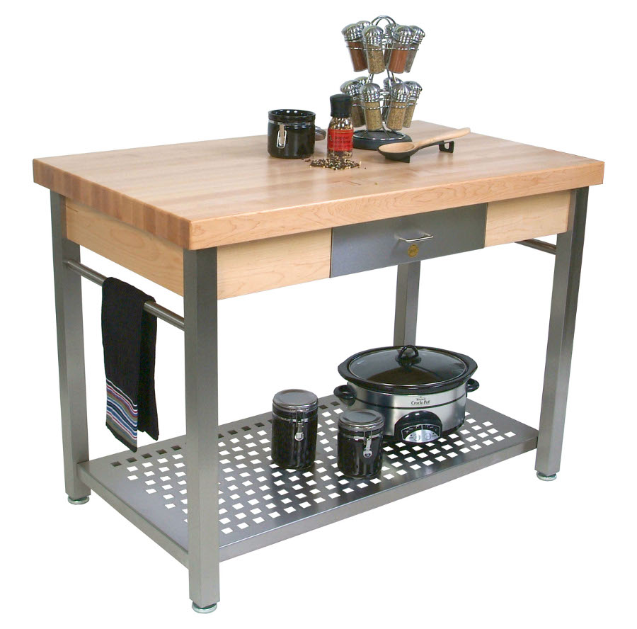 John Boos Cucina Grande Butcher Block on Steel Kitchen Work Table CUCG20, CUCG21
