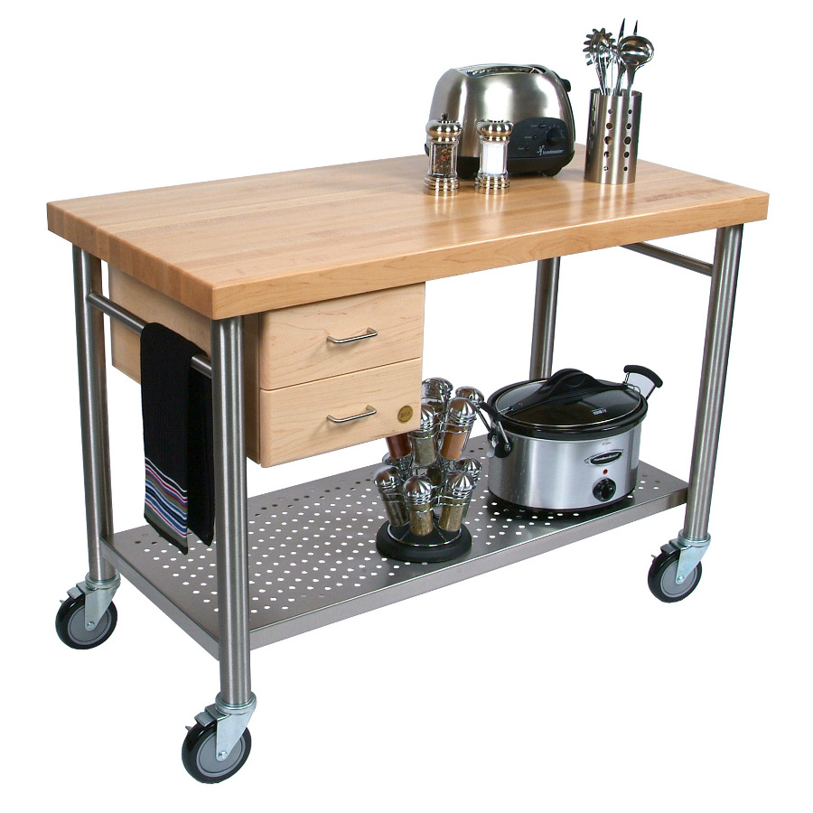 John Boos Cucina Magnifico Kitchen Cart – Double-Drawer Stack