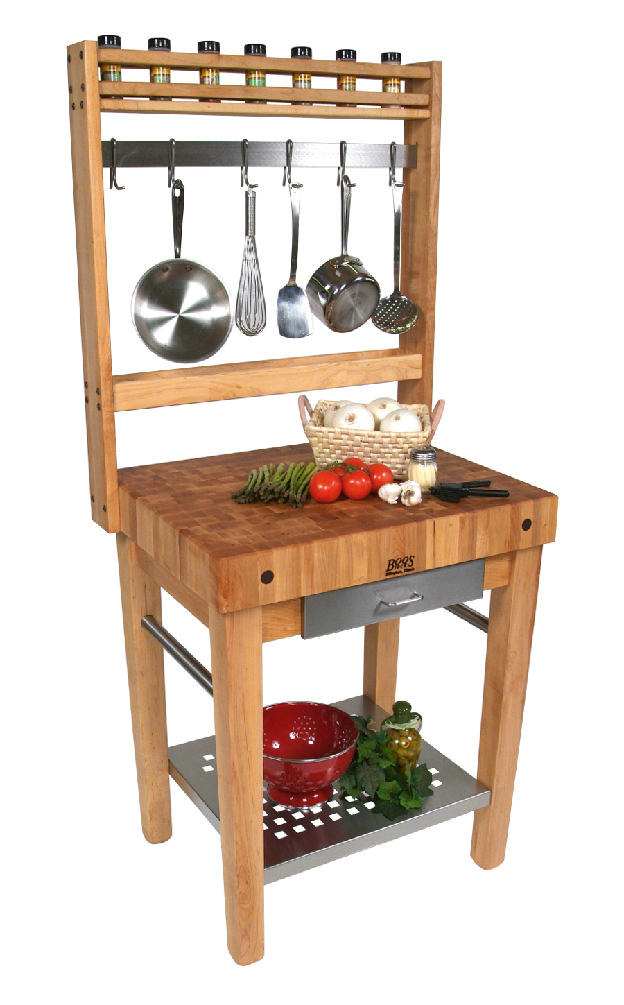 John Boos Cucina Premo Kitchen Prep Station with Pot Rack