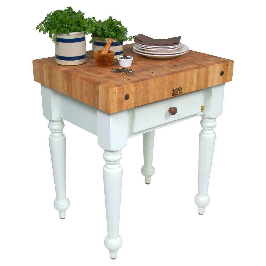 John boos rustica butcher block kitchen island table - Small butcher block island ...