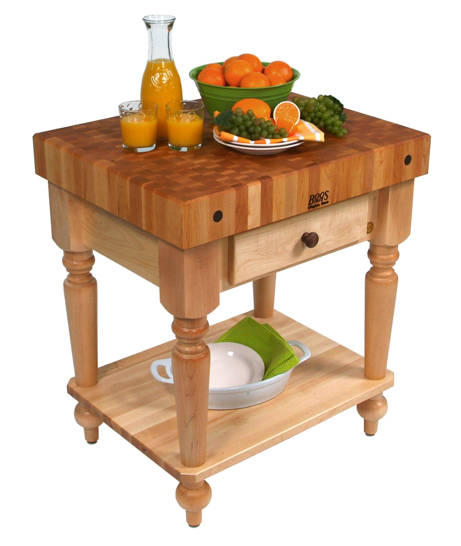 John Boos Maple Rustica Butcher Block with Solid Maple Shelf