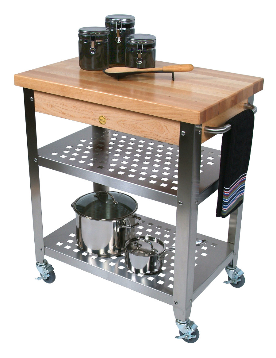 John Boos Maple Cucina Rosato Butcher Block & Steel Cart